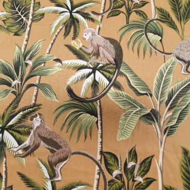 Ochre Tropical Monkeys 100% Cotton Curtain and Upholstery Fabric