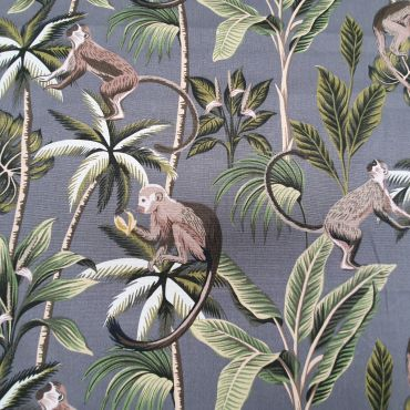 Grey Smoke Tropical Monkeys 100% Cotton Curtain and Upholstery Fabric