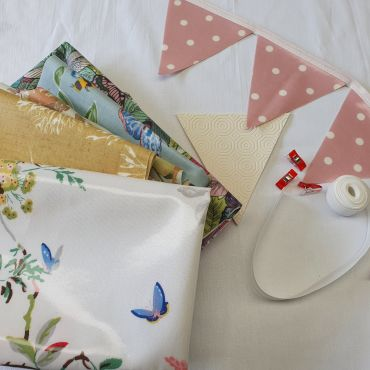 Make Your Own-Oilcloth Floral Outdoor Bunting Kit 3 or 6 Metres