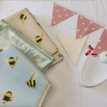 Make Your Own-Oilcloth Bees Outdoor Bunting Kit 3 or 6 Metres