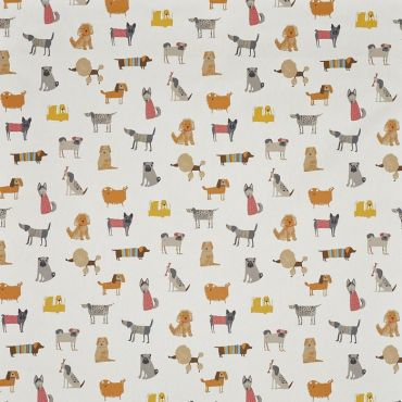 Cream Funky Hound Dogs Oilcloth Wipe Clean Tablecloth