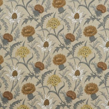 Acanthium Ochre Floral 100% Cotton Curtain and Upholstery Fabric