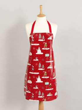 Red Elves and Snowmen Adult and Child Oilcloth Wipe Clean Apron