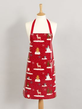 Red Gingerbread Snowmen and Santa Christmas Oilcloth Apron Adult and Child Sizes