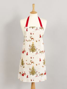 Beige Christmas Woodland Wipe Clean Oilcloth Adult and Child Apron