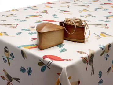 Beige Pajaro Abstract Birds Wipe Clean Oilcloth Tablecloth