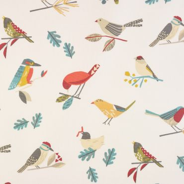 Abstract Birds Beige Pajaro 100% Cotton Curtain Upholstery Fabric