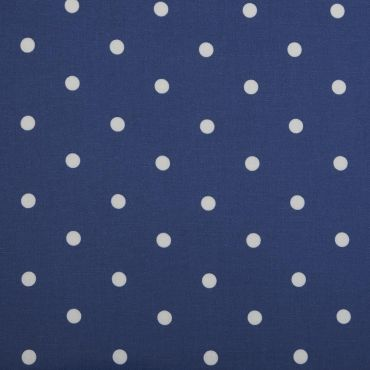Dotty Denim Blue Polka Dot Curtain and Upholstery Fabric