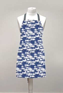 Blue and White Fish Adult or Child Oilcloth Wipe Clean Apron