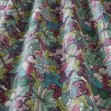 Green Duck Egg Butterflies, Dragonflies and Bees 100% Cotton Curtain Blinds Fabric