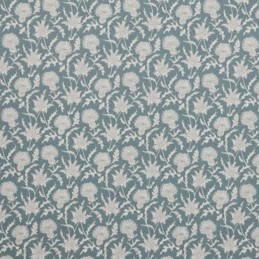 Carlina Teal Thistles Curtain and Upholstery Fabric
