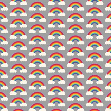 Crafting Quilting 100% Cotton Fabric Grey and White Multi Rainbows