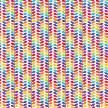 Rainbow Floral Stem Cotton Crafting Quilting Fabric