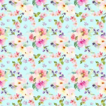 Crafting Quilting 100% Cotton Fabric Vintage Blue Shabby Chic Large Roses