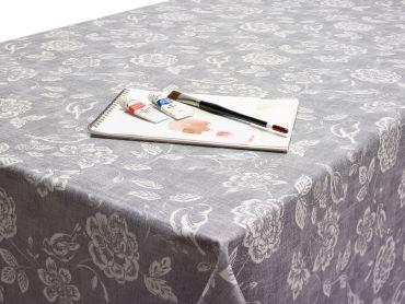 Grey Bird Garden Floral Oilcloth Wipe Clean Tablecloth Matte Finish
