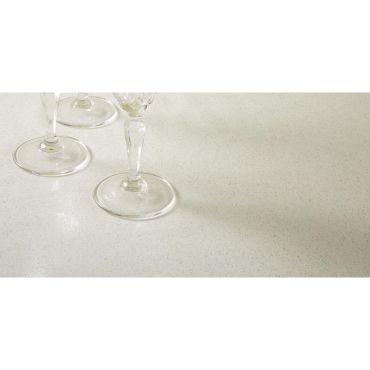 White Glitter Sparkle PVC Vinyl Wipe Clean Tablecloth 140cm Round with White Bias Binding