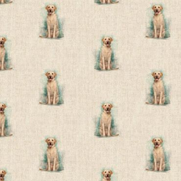 Yellow Labradors Linen Effect Crafting All Over Curtain Fabric