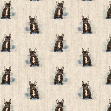 French Bulldog Linen Effect Crafting All Over Curtain Fabric