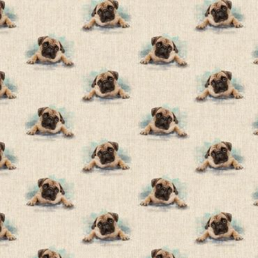 Pugs Dogs Linen Effect Crafting All Over Curtain Fabric