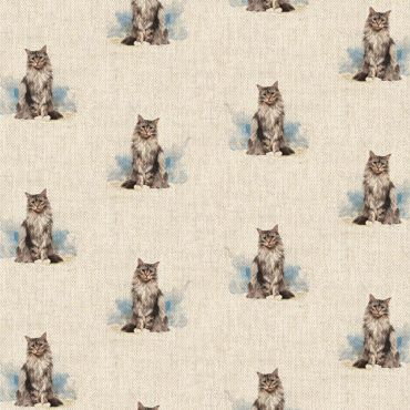 Fluffy Cats Linen Effect Crafting All Over Curtain Fabric
