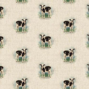 Black and White Cow Linen Effect Crafting All Over Curtain Fabric