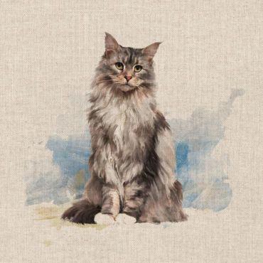 "Fluffy Cat 18"" x 18"" Cushion/Bag Panel"