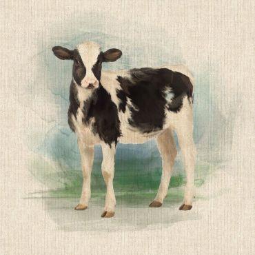 "Black and White Calf/Cow 18"" x 18"" Cushion/Bag Panel"