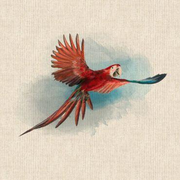 "Red Parrots 18"" x 18"" Cushion/Bag Panel"