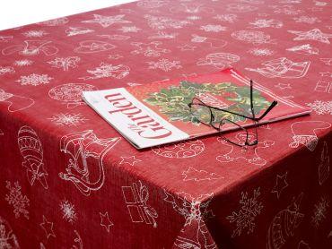 Deep Red Reindeers and Gingerbread  Christmas PVC Vinyl Wipe Clean Tablecloth