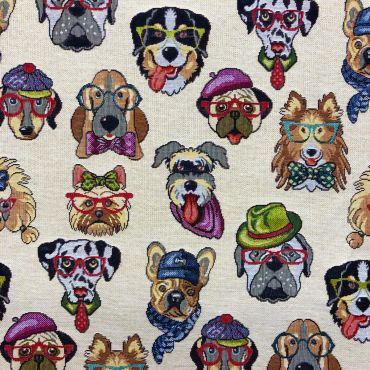 Multi Colour Funky Dogs Tapestry Curtain and Upholstery Fabric
