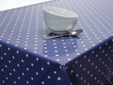 Dotty Denim Blue Oilcloth Wipe Clean Tablecloth