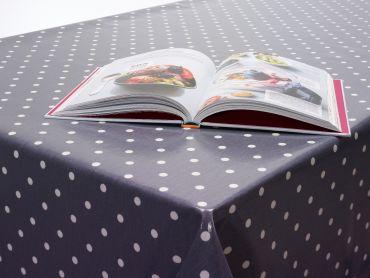 Dotty Smoke Grey Polka Dot Oilcloth Wipe Clean Tablecloth