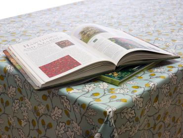 Duck egg Acorns and Leaves Floral Oilcloth Wipe Clean Tablecloth - 180cm Round with Centre Seam