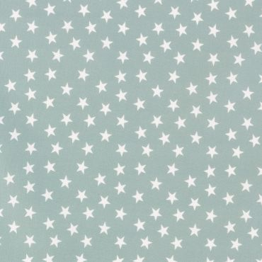Duck Egg and White Little Random Star 100% Cotton Curtain Crafting Fabric