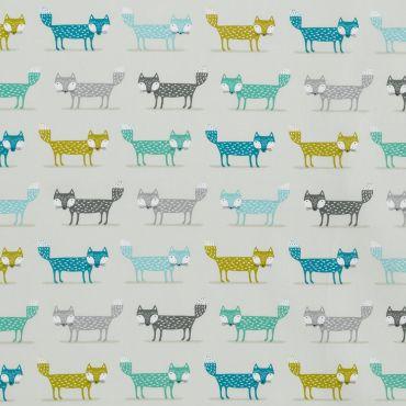 Duck Egg Grey Foxes Oilcloth Tablecloth
