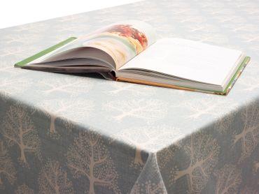 Duck egg Oak Trees Oilcloth Matt Finish Wipe Clean Tablecloth