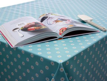 Duck Egg Small Daisy PVC Vinyl Wipe Clean Tablecloth
