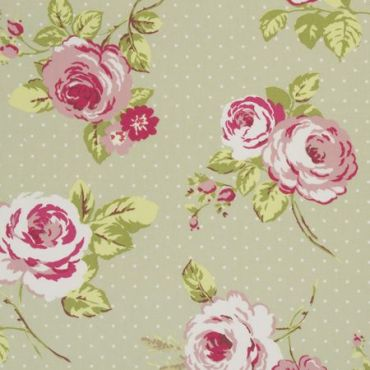 Vintage Shabby Chic English Rose Sage Green and Pink Roses Oilcloth Wipe Clean Tablecloth with Off-White Bias Binding - 132cm x 250cm