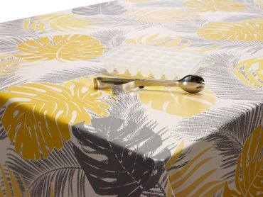 Exotic Ochre & Grey Tropical Leaves PVC Vinyl Wipe Clean Tablecloth