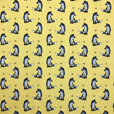 Felix Fox Yellow Curtain and Upholstery Fabric