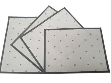 Grey and Black Stars Oilcloth Wipe Clean Set of 4/6 or 8 Placemats