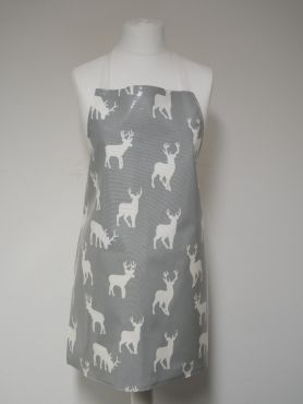 Grey and White Stags Matte Christmas Wipe Clean Oilcloth Adult and Child Apron