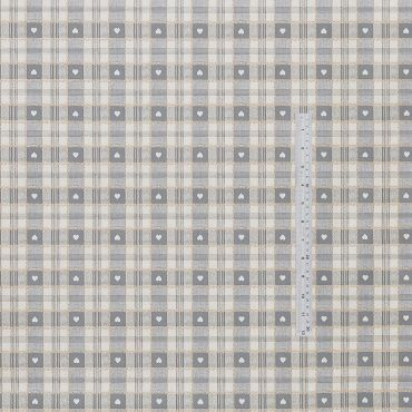 Grey Heart Check PVC Vinyl Wipe Clean Tablecloth