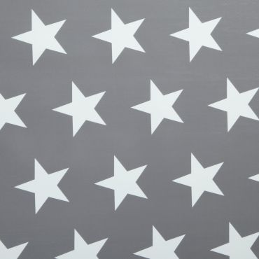 Grey and White Large Star PVC Vinyl Wipe Clean Tablecloth