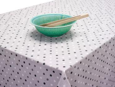 Spotty Grey Black White Dotty Acrylic Wipe Clean Tablecloth