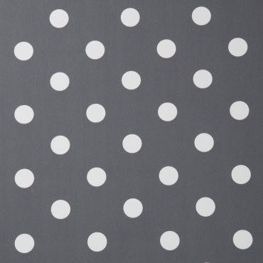 Smoke Grey and White Polka Dot PVC Vinyl Wipe Clean Tablecloth