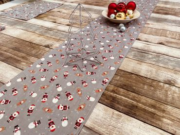 Grey Snowmen, Santa and Reindeer Christmas Cotton Fabric Table Runner