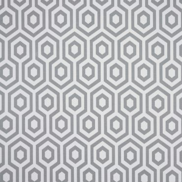 White and Grey Hex Oilcloth Wipe Clean Tablecloth