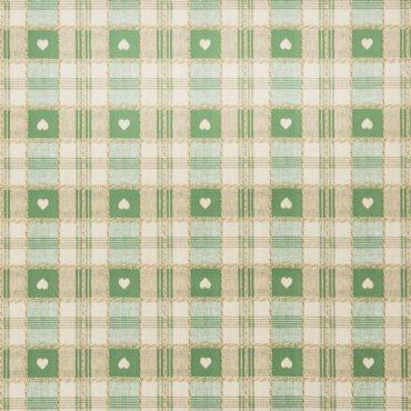 Green Heart Check PVC Vinyl Wipe Clean Tablecloth