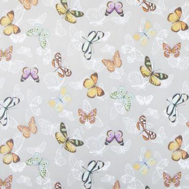 Grey Multi Butterflies PVC Vinyl Tablecloth